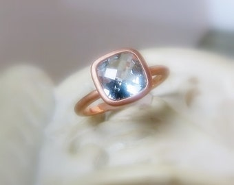 Aquamarine Cushion 8mm Gemstone in Sterling Silver, Conflict Free, Made to Order