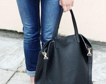 PRE-ORDER >>> DOMI - Top Zip Leather Tote Bag - Black