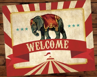 Circus Birthday Welcome Sign, Circus Party Welcome Sign, Step Right Up Welcome Sign, Circus Birthday Printables