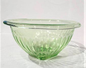 Vaseline Glass Mixing Bowl, Federal Ribbed Green Glass Bowl, Green Depressionware