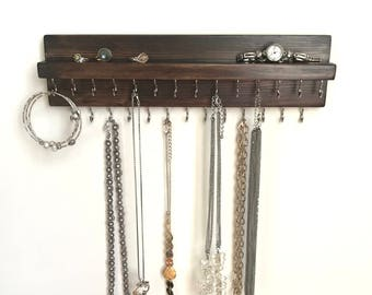Rustic Dark Brown Jewelry Organizer Holder, Necklace Display, Wall Mounted Rustic Wood, Holds Necklaces Bracelets