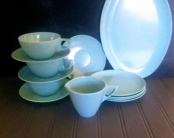 Mid Century Turquoise Melmac Dinnerware Glamping Gear Camping or Picnic Set Sun Valley Melmac