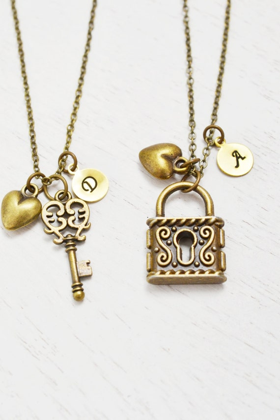 Best friend necklace heart jewelry key lock matching like this item aloadofball Gallery