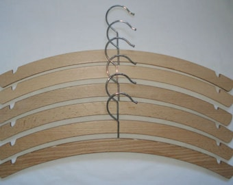 6 x 42cm Wooden coat hangers with notches. Beech Wood with silver hook