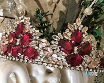 Vintage Rhinestone Tiara, Vintage Rhinestone Crown, Rhinestone Bridal Crown, Crystal Tiara, Crystal Crown, Bridal Tiara, Wedding Tiara
