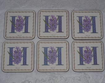 Pimpernel Coasters Alphabet Florals H Purple Hyacinth Set of 6 in Box Cork Bottom Vintage Barware Drinkware