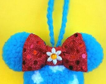 Vintage Minnie inspired PomPom ornament/keychain