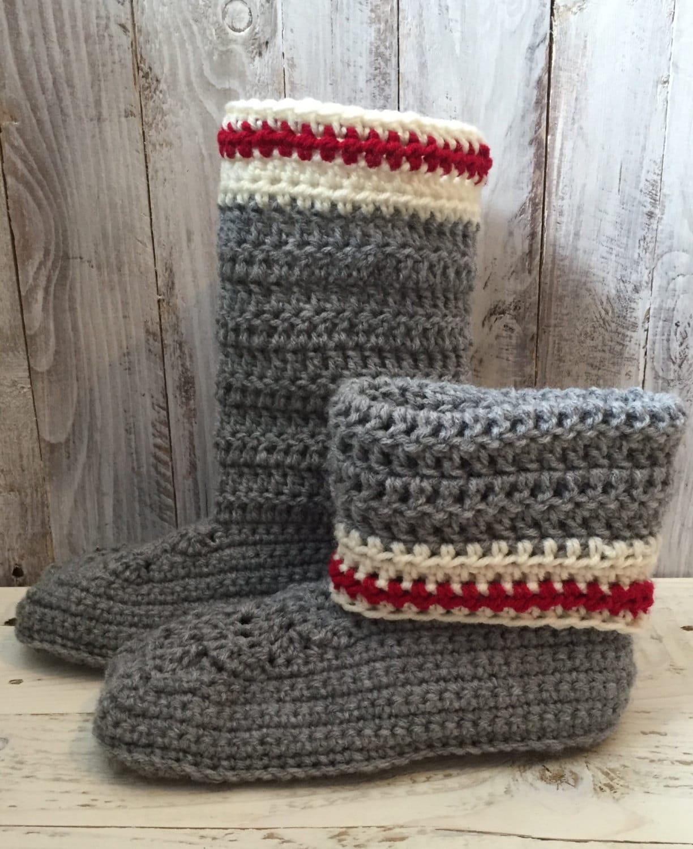 Work sock slipper boots crochet slippers crochet slipper