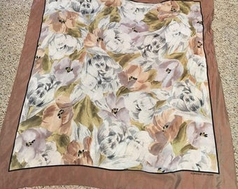 1990's Adrienne Vittadini Silk Scarf with Floral Design