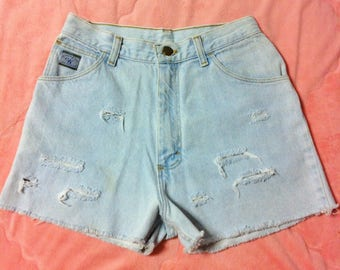Vintage Wrangler Light Blue Denim Jean Shorts, Vintage Wrangler Light Blue High Waisted Denim Cut Off Shorts, Wrangler Denim Cut Offs
