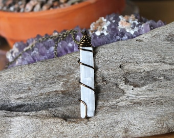 Natural Selenite Necklace - Wiccan Jewelry - Crystal Necklace - Bohemian Necklace - Selenite Jewelry - Boho Jewelry - Wire Wrapped Pendant