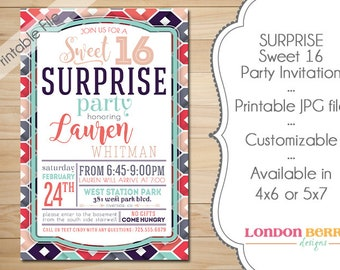 SURPRISE Sweet 16 Printable Party Invitation
