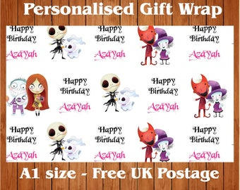 """Personalised Birthday Wrapping Paper with 2 Tags.  """"Nightmare""""."""
