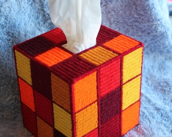 Tapestry 'Shades of Autumn' Rubik's Cube Tissue Box- Unique OOAK