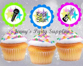 12 Rock Star Cupcake Toppers, Rockstar Birthday Party, Rock Star Toothpicks, STICKERS are sold SEPARATELY