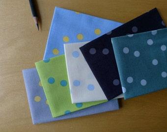 Barcelona Rain Dots FQ Bundle - Zen Chic for Moda - Fat Quarter (6) Pieces - Modern Quilting Craft Cotton Fabric