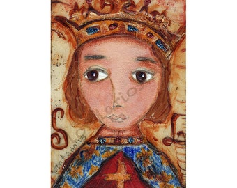 Saint Louis - Folk Art  Print from Painting (5 x 7  inches Print) by FLOR LARIOS