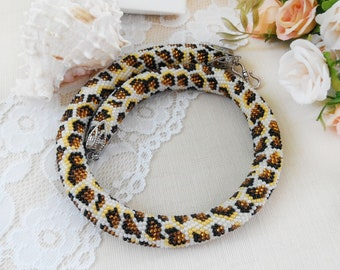 Animal lover gift for sister Animal jewelry Leopard necklace for women Christmas in July Bead crochet necklace Brown boho necklace Big cat