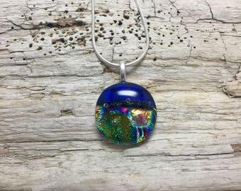 jewelry, dichroic glass, handmade, Glass, Dichroic Glass Pendant, Fused Glass Jewelry, Fused layered Dichroic Necklace, Dichroic Glass