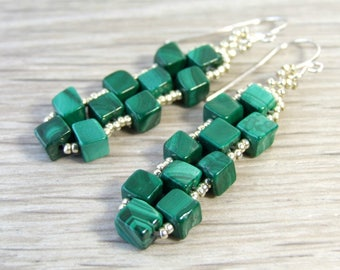 Genuine Malachite Earrings Geometric Cube Earrings Green Natural Jewelry Beaded, Sterling Silver, Unique Handmade Gifts, Modern Boho Dangle