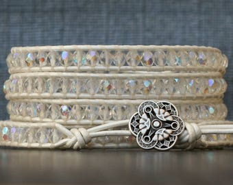 wrap bracelet- clear aurora borealis crystal on bright white leather - boho wedding gypsy bohemian