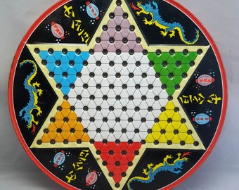 Vintage Chinese Checkers Metal Round Board Game Ohio Art Dragon