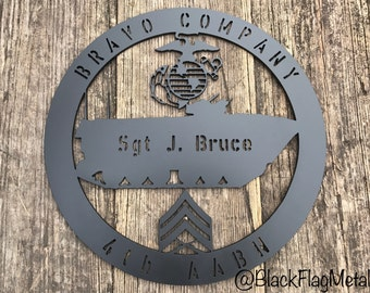 Personalized U.S. Marine Corps Metal Sign Wall Decor