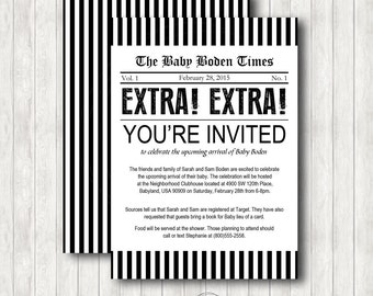 Newsprint or Newsboy Invitation - Baby Shower, Birthday, Announcement, Wedding