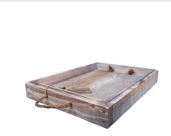 White Washed Rustic Serving Tray --- Flintface Woodshop