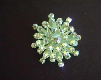 Vintage Green Enamel with Multi colored Rhinestones Brooch