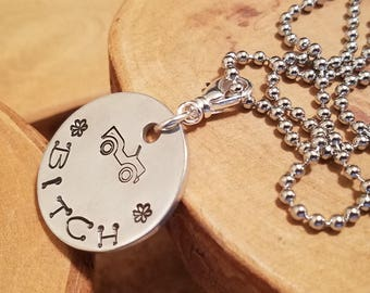 Jeep Bitch aluminum hand stamped metal pendant charm necklace  OIIIIIIIO
