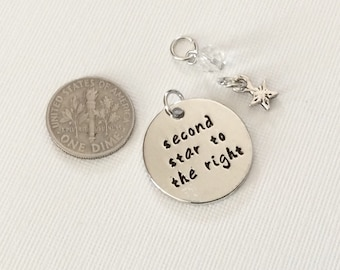 """1 -  """"Second Star to the Right"""" Pendant or Charm -Separated Lovers necklace, Rhodium plated pendant, Friendship necklace, stamped jewelry"""