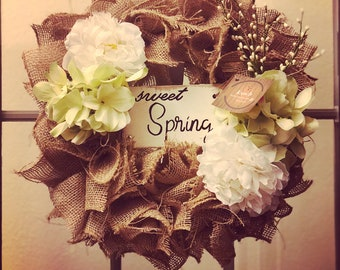 Sweet Spring Burlap Wreath