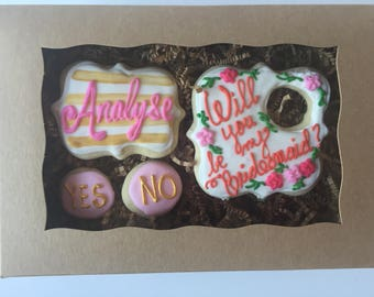Will you be my bridesmaid cookie box - bridesmaid gift - bridemaid proposal - will you be my flower girl- will you be my maid of honor