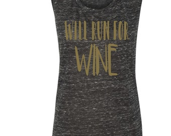 Will Run For Wine Women's Running Tank Cardio Tank Workout Tank Gym Fitness