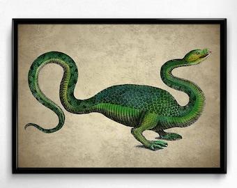 Dragon Monster Vintage Print - Dragon Monster Poster - Dragon Monster Art - Home Decor - Home Art - Office Art - Office Decor