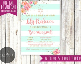 Bat mitzvah invite etsy bat mitzvah invitation floral gold elegant photo printable diy solutioingenieria Gallery