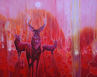 LARGE ORIGINAL Oil Painting - Red Magic - A Red painting with red deer at dawn