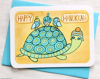 Turtle Dreidel Hanukkah Card - Holiday Notecard, Cute Hanukkah Card, Funny Hanukkah Card, Dreidel card, Holiday Card, Animal Hanukkah Card