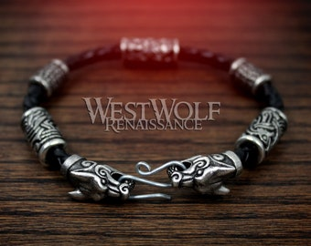 Viking Fenrir Wolf Bracelet with Beads & Braided Leather Band --- Norse/Silver/Wolves/Odin/Ravens/Hugin/Munin/Bead/Torc/Torq