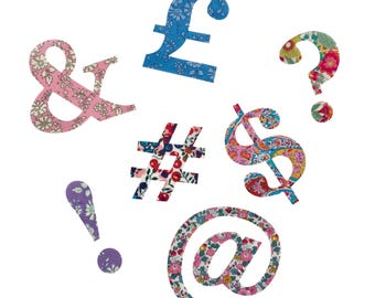 Liberty Print Applique Iron On Symbols/ 7.5cm Liberty Print Applique Ampersand @ question mark exclamation mark hashtag pound dollar/Iron On