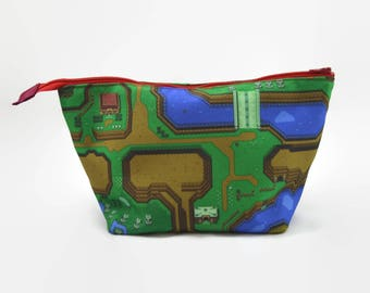 Zelda Zipper Pouch - Link to the Past Zipper Bag - Zelda Dice Bag - 16-bit Video Game Art - Video Game Accessory Pouch - Video Game Gift