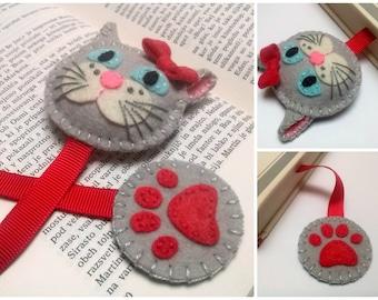 Felt cat bookmark, gray cat bookmark, white cat bookmark for girls, gift for cat lover, back to school, cat gift