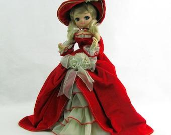 Vintage 1960s Bradley Big-Eye Doll / Red Velvet Dress / Large Red Velvet Hat / Blonde Curls / Made in Korea / Southern Belle