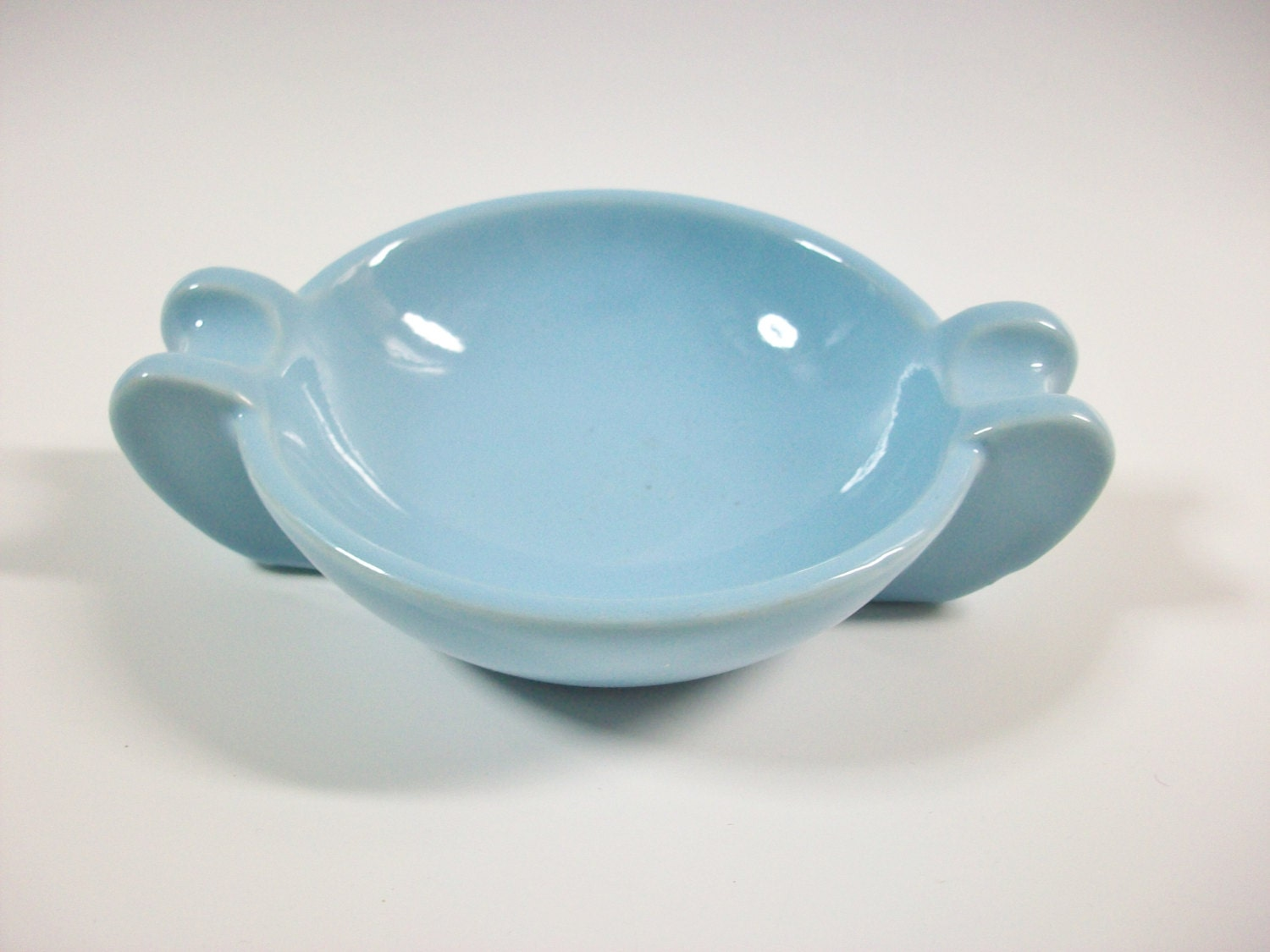 Baby Blue Ashtray Vintage Ceramic Ashtray Coin Holder or