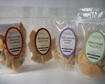 Brittle  6 Assorted Random Flavors 5 oz bags You will get 6 , 5oz Bags Can't pick a flavor try a few flavors !
