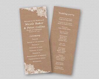 Vintage Wedding Program Printable Rustic Wedding Ceremony Program Template, Order of Ceremony Template, Kraft Wedding Program Church Program