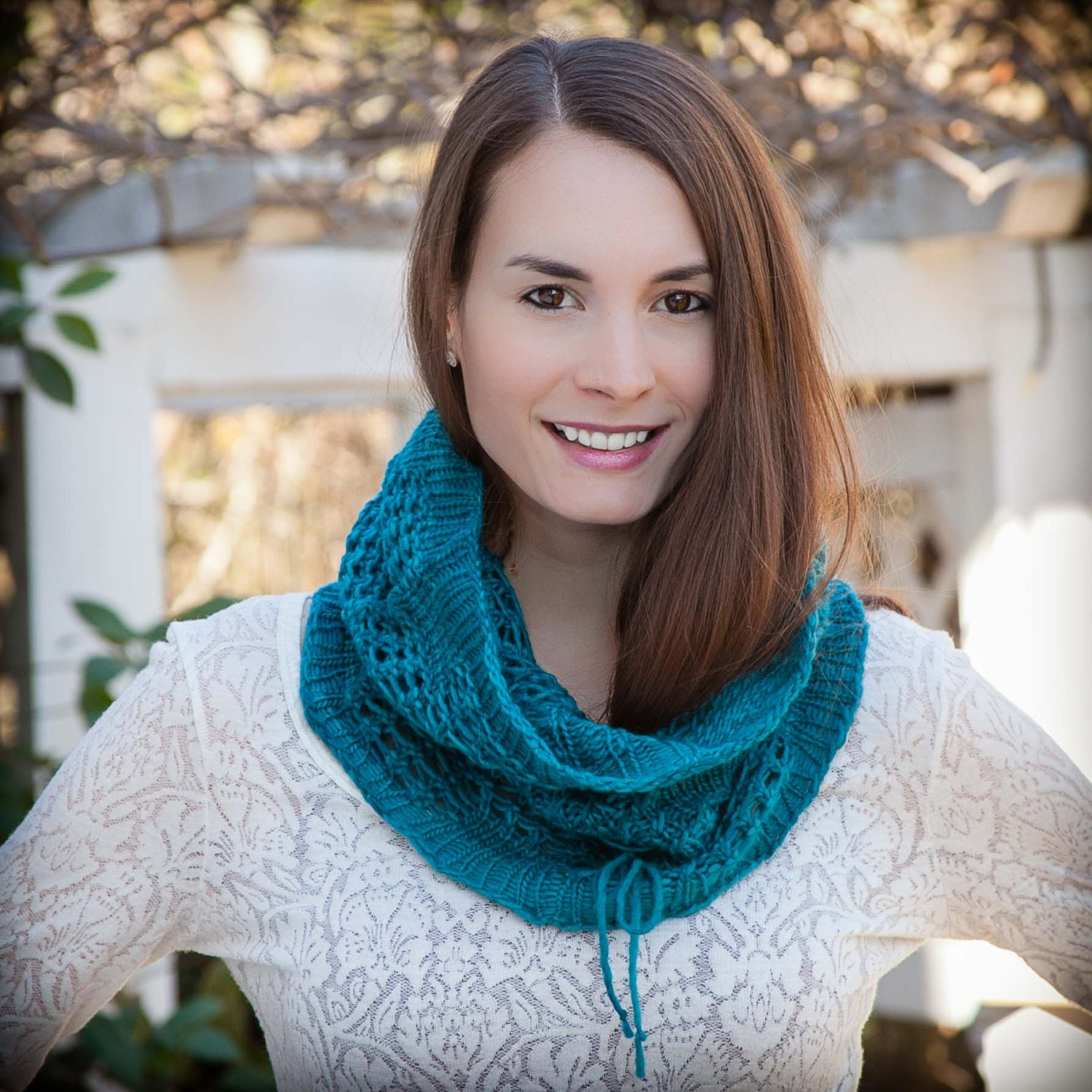 Loom Knit Snood Cowl PATTERN. Lace Snood, Infinity Scarf, Easy lace ...