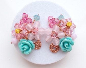 Rose orecchini orecchini - gioielli Chic - regali per la mamma - Gioielli floreali - pastello - Cluster orecchini - gioielli donna regali idea - floreale