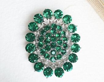 Emerald brooch, emerald green jewelry, emerald jewelry, rhinestone brooch, christmas jewelry, christmas brooch pin green emerald